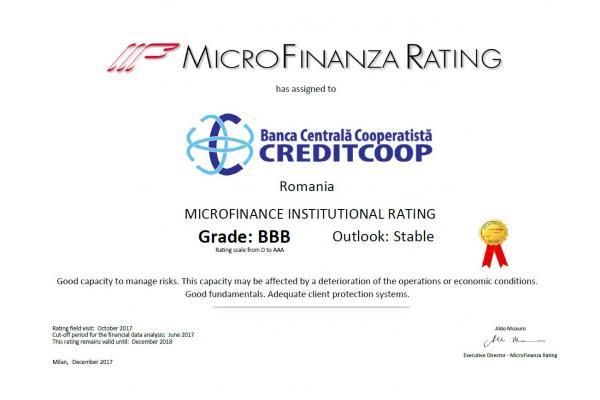 Diploma Rating Certificare Banca Centrala Cooperatista CREDITCOOP